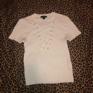 Criss-Cross Neck  White Shirt